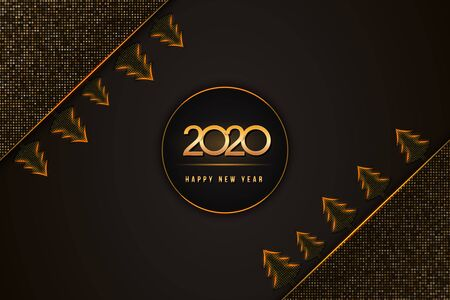 Happy New Year 2020 text design with golden numbers and christmas trees on black background textured with halftone pattern. Holiday banner, poster, greeting card or invitation template. Copy space