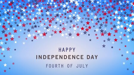 4th of July holiday banner on stars background. USA Independence Day poster, flyer, greeting card. American Presidents day. Red, blue, white stars confetti design. Space for text. Vector illustration