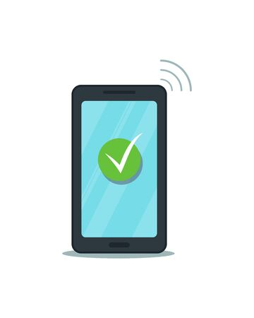 Green check mark on smartphone touch screen. Flat mobile phone with approved tick icon isolated, white background. Successful update, agree, vote, accept, confirm action button