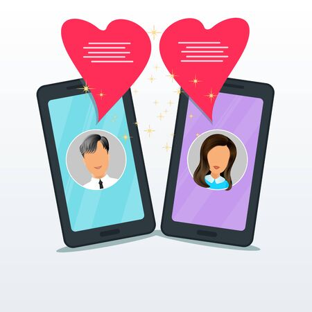 Online dating chat with two flat smartphones and bubble speeches in form of pink heart. Man and woman friendship, relationship or conversation through mobile chatting app. Banner design element