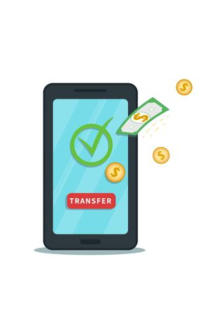 Online money transfer from mobile app. Successful bank transaction. Digital wallet. Flat smartphone with check mark, transfer button and cash. Concept of withdrawal, cashback or bonus.