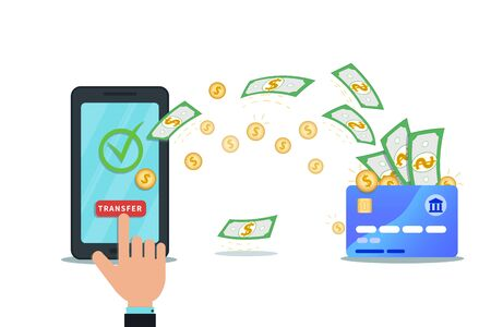 Online payment, money transfer, mobile wallet app concept. Flat smartphone with nfc credit card and check mark isolated on white background. Hand click transfer button. Shop checkout. Cash withdrawal