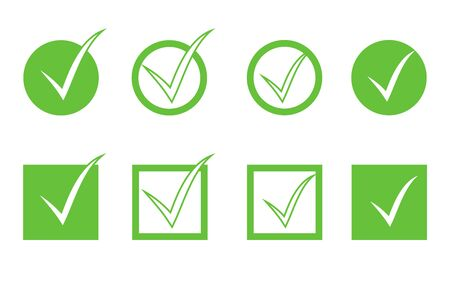 Green check mark icon set isolated on white background. Flat tick icons, circle, square or box. Design element for web form, button, ui, checklist and poll. Clip art. Vector illustration Ilustracja