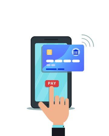 Flat design of instant online mobile payment, shopping concept. Hand finger touching pay button on smartphone screen, checkout processing. Wireless money transfer, nfc technology. Digital wallet