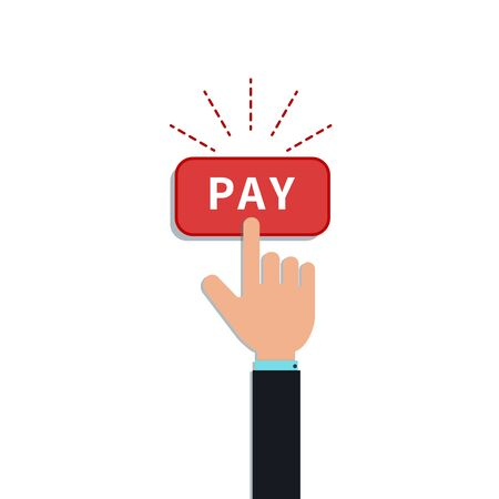 Flat hand forefinger click on red pay button isolated on white background. Design element for mobile payment app, add to cart, customer purchase, place order