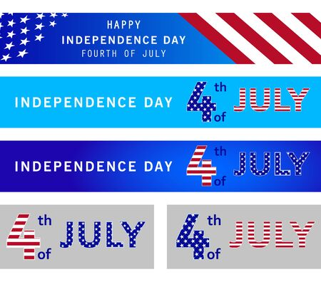 Fourth of July holiday banner design concept. American Independence Day celebration. 4th of July poster, greeting card, invitation template on navy blue background with stars. Memorial day. Vector