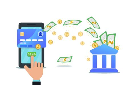 Electronic banking with mobile app and nfc credit card.  Hand finger click send button on smartphone screen. Send money online payment concept. Money transfer. Currency exchange