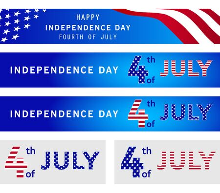 4th of July Independence day. Set of web banner templates with American waving flag and stars. Memorial day. National holiday event poster, flyer, card design. July fourth. Vector illustration