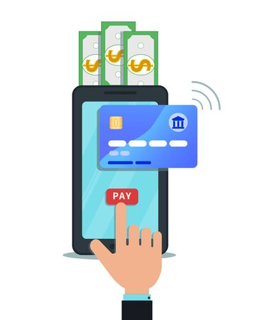 Online mobile payment, money transfer or shopping concept. Hand finger touching pay button on smartphone screen. Secure bank transaction with nfc technology. Internet banking. Digital wallet