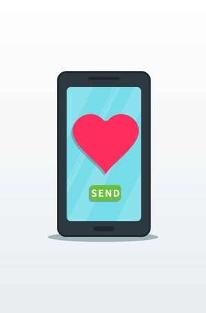 Sending love message, flat smartphone with pink heart and send button on touch screen isolated on white background. Online dating, valentine message. Graphic design element for web banner or poster