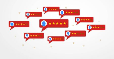 Review rating bubble speeches in flat style isolated on white background. Customer 5 stars reviews with good and bad rate. Concept of client grading system, testimonials, feedback evaluation. Vector Ilustracja