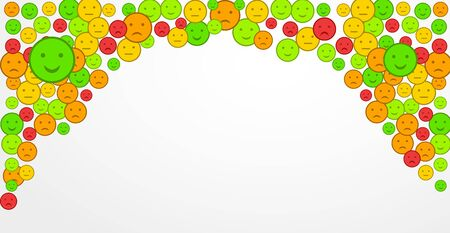 Customer satisfaction with smiles in form of various emotions. Review rating. Set of Emoji flat icons. Sad and happy mood emoticons. Design elements for web banner, feedback, promo, marketing. Vector Ilustracja