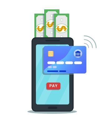 Koncepcja płatności mobilnych i przelewów online. Płaski projekt ikony smartfona z przyciskiem zapłacić na ekranie dotykowym na białym tle. Bankowość internetowa. Zakupy bezprzewodowe płatności z technologią nfc