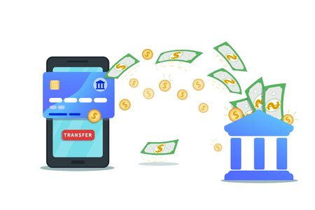 Send money online using bank account and mobile wallet app. Flat design of smartphone with credit card, transfer button on screen and cash flow. Concept of cashback and currency exchange Ilustracja
