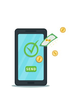 Send money online with mobile digital wallet app. Successful bank transaction. Flat smartphone with check mark and send button and cash coins. Concept of withdrawal, profit or reward Ilustracja