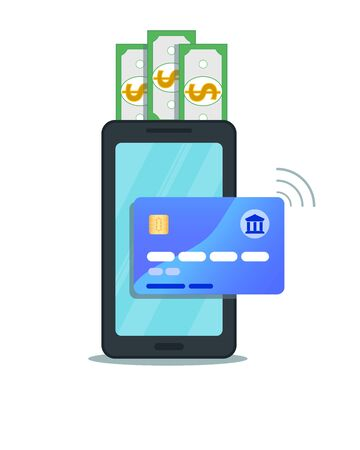 Internet banking concept. Flat design of online mobile payment via credit card with nfc technology. Secure shopping wireless pay transaction through smartphone isolated on white background Ilustracja