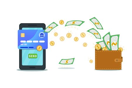 Online money payment app, electronic banking. Mobile digital wallet. Flat smartphone design with nfc credit card and send button isolated on white background. Concept of withdrawal, profit growth