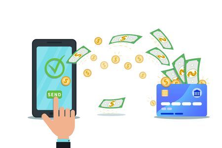 Online payment service, digital wallet concept. Money transfer app. Flat smartphone with nfc credit card and check mark isolated on white background. Hand click send button. Shop checkout.