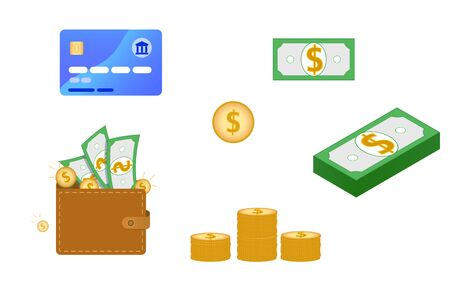 Set of money related flat icons. Contain such elements as credit card, wallet with green banknotes and stack of gold coins, purse, cash dollars money pile. Vector illustration