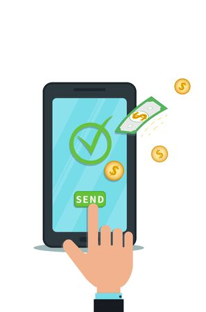 Send money online with mobile app. Digital wallet. Electronic banking. Flat smartphone with check mark and hand finger push send button. Concept of online payment system. Successful bank transaction