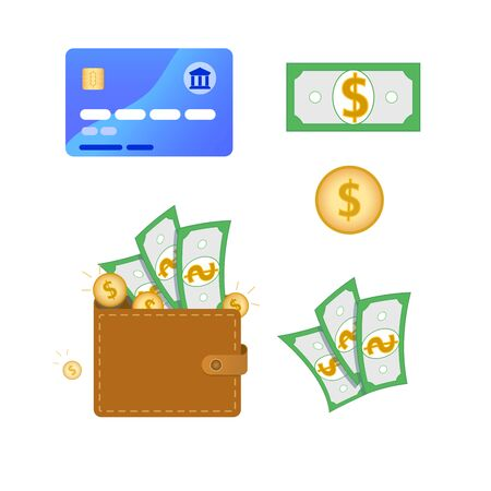 Set of business, finance or money related flat icons. Contain such elements as credit card, wallet full of money, gold coins, green dollar banknote sign. Vector illustration Ilustracja