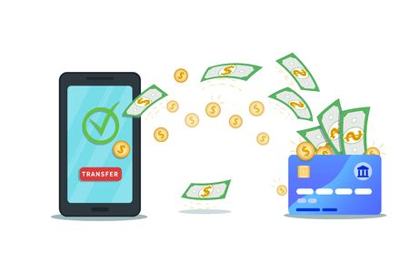 Money transfer app. Flat smartphone with nfc credit card, check mark and transfer button isolated on white background. Successful bank transaction. Virtual wallet. Online payment service. Cash flow