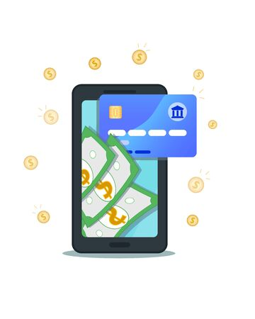 Money transfer with flat smartphone and credit card and coins isolated on white background. Online banking, mobile payment with nfc technology. Passive income, return on investment, receive money.