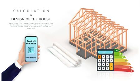 Energy efficient eco house construction concept with chart. Hand holding smartphone with isometric timber frame home, calculator and blueprint. Banner, poster, promo design with copy space. Vector Ilustracja