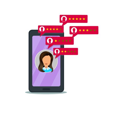 Customer review rating on mobile phone. 5 star rating system, bubble speech with user profiles. Concept of client grading system, testimonials, notifications, feedback evaluation, chat Ilustracja