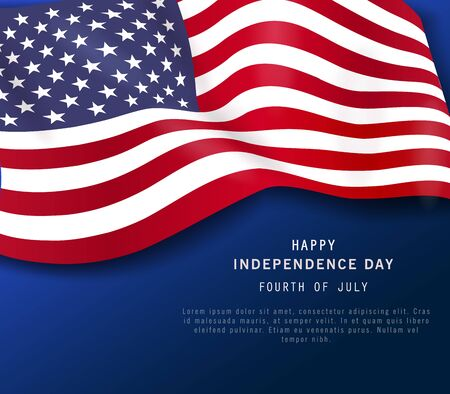 Happy 4th of July holiday banner. American Independence Day Party poster or flyer on navy blue background. July Fourth. Greeting card. space for text. Vector illustration.