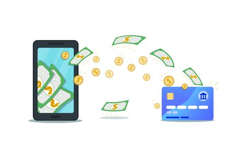 Online payment or money transfer with mobile wallet app and credit card. Flat smartphone with cash on screen. Make or earn dollar money. Concept of savings bank account, cashback, currency exchange Reklamní fotografie - 131870951