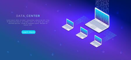 Isometric cloud computing, online data storage design. Laptops connected in internet network with binary code 1,0. Modern business digital information technology concept. Banner, poster template