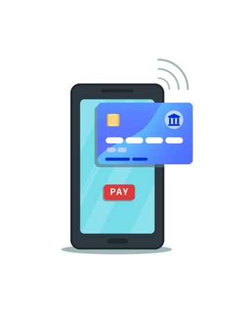 Online mobile payment concept. Internet banking. Flat smartphone icon with pay button isolated on white background. Secure wireless transaction via credit card with nfc technology and mobile app.