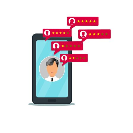 Customer review rating on mobile phone. Concept of online feedback, testimonials, service quality, user experience rate on smartphone screen isolated on white background with man icon. Vector Ilustracja