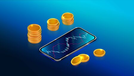 Stock exchange market or return on investment concept with mobile app. Forex trading chart with smartphone and coins on blue background, sell and buy indicators. Cryptocurrency exchange Ilustracja