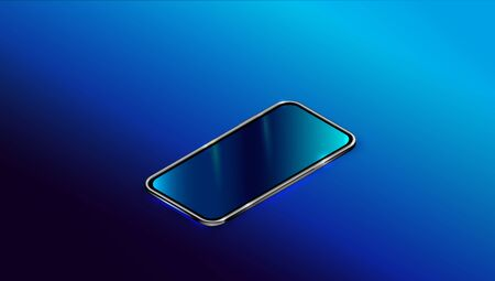 Modern black smart phone isolated on dark blue background in perspective view. Realistic isometric new smartphone mockup with blank touch screen. 3d Mobile cellphone template. Vector illustration