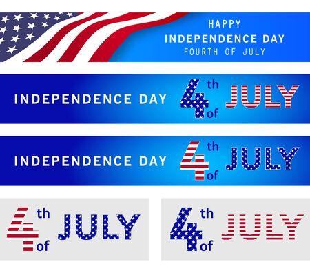 Cuatro de julio conjunto de banderas de la fiesta patriótica nacional. Cartel del día de la independencia americana, volante, encabezado, fondo azul marino con la bandera de Estados Unidos. Día Conmemorativo. Elección de presidentes. Ilustración vectorial