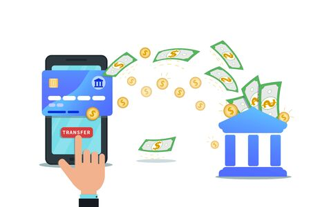 Online payment service, banking or money transfer with mobile app and nfc credit card concept. Hand finger click send button on smartphone screen. Concept of investment, cashback, currency exchange