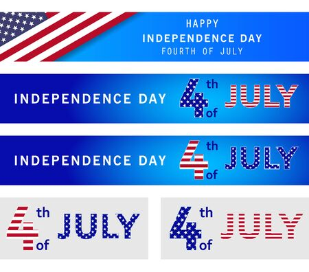 4th of July set of holiday banner. American Independence Day Party poster, flyer, advertisement on navy blue background. Memorial day. Presidents election. Space for text. Vector illustration