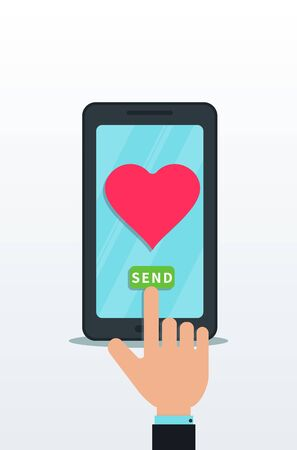 Sending love message using flat smartphone with pink heart icon on touch screen. Finger push send button. Online dating, virtual love, valentine notification. Design element for banner, poster, app