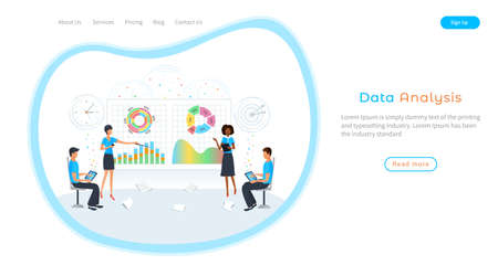 Business people planning and analyzing financial data growth in meeting. Marketing research. Team of analysts analyzing statistics and operational report. Predictive data analysis