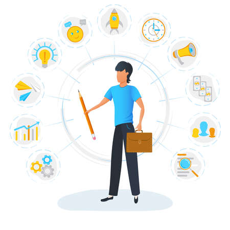 Businessman is standing and holding briefcase surrounded by office task icons. Multitasking, productivity optimization and time management concept. Effective management. Project planning activities