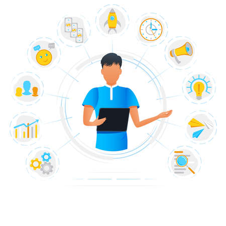 Vector illustration of businessman doing multitasking work on tablet. Project planning activities. Freelance worker busy with multitasking. Effective time management concept. Startup new business Vectores