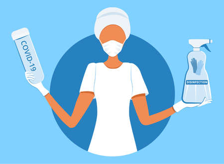 Coronavirus 2019-nCoV prevention tips, doctor in surgical gloves holding blood test tube and hand sanitizer for disinfection Ilustracja