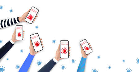 Social distancing and prevention COVID-19 spreading by using mobile phone. Realistic hands holding smartphone with coronavirus icons on screen. Stop coronavirus 2019-nCoV outbreak. Creative banner Ilustracja