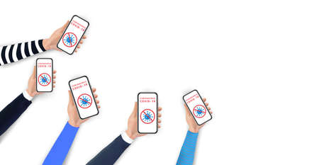 Stop coronavirus 2019-nCoV concept. Hands holding smartphone with coronavirus icon and red prohibit sign on screen. Social distancing by using mobile phone. Template design for web banners, posters