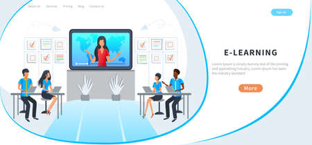 Concept of online education for website and mobile app, training course, e-learning. Students watching video tutorials. Landing page template. Distance education, webinar, professional conference.