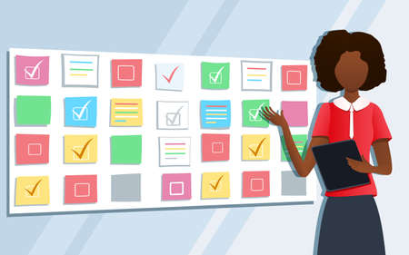 Vector illustration of workshop training. Business consultant pointing at scrum task board plan. Professional female coach standing at whiteboard with sticky notes. Business presentation