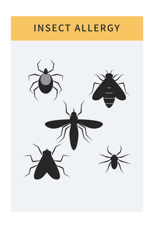 Insect allergy icons set. Cartoon isolated allergen like mite, bugs, bee, hornet and wasp. Banner template with allergy risk factors Ilustracja