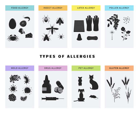 Allergy concept icons set. Banner template with different types of allergens like pollen, food, gluten, animal hair, latex, drugs, insect. Banner template with allergy risk symbols. Infographic Ilustracja